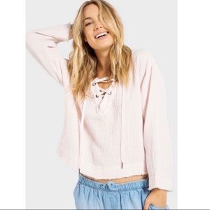 Anthropologie Cloth & Stone Pink Tie Top Size S